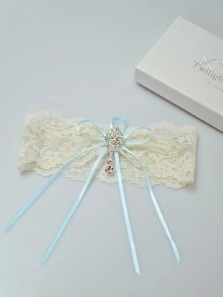 Gorgeous flat lace bridal garter with crystal drop flatlay TLG515