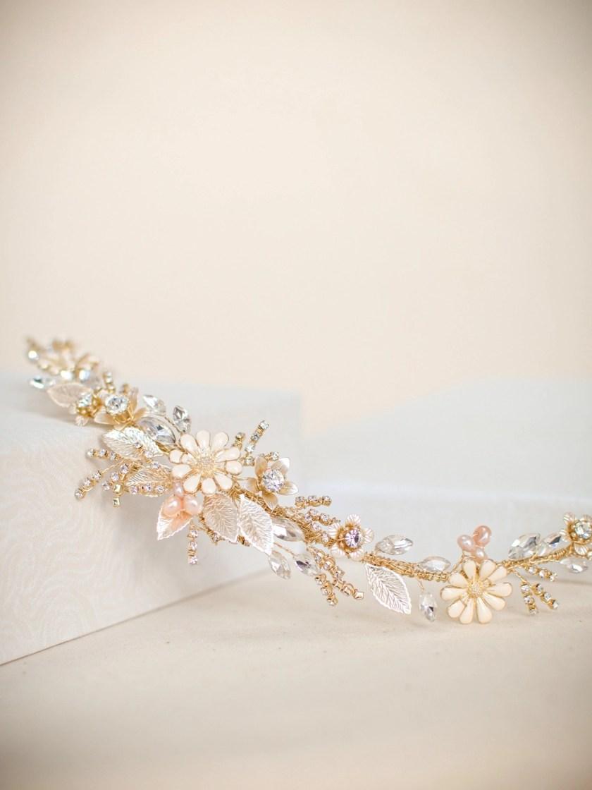 Soft Gold, Blush and Porcelain Flower Hair Vine (2)