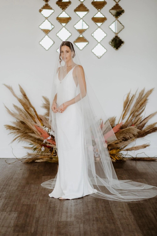 Blush Veil Blush Wedding Veil Single Layer Veil Bridal Fingertip Veil Ivory White Bridal Veil Pink Veil Wedding Veil Chapel Veil