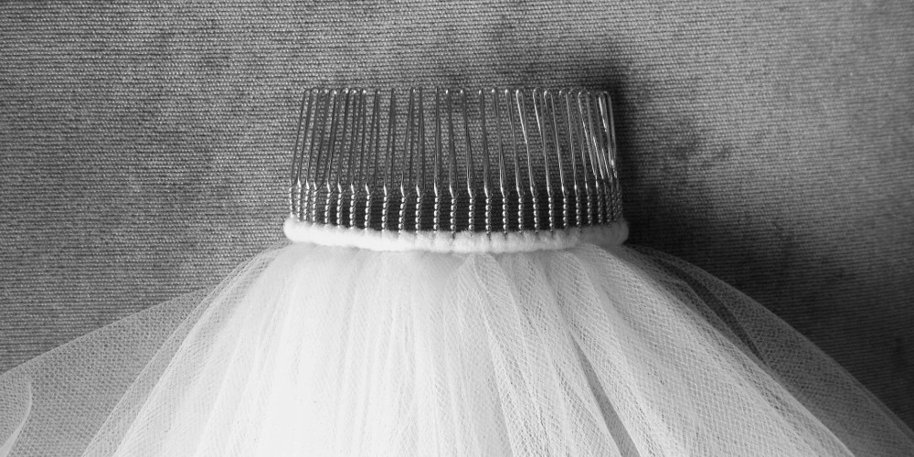 Metal comb on a wedding veil