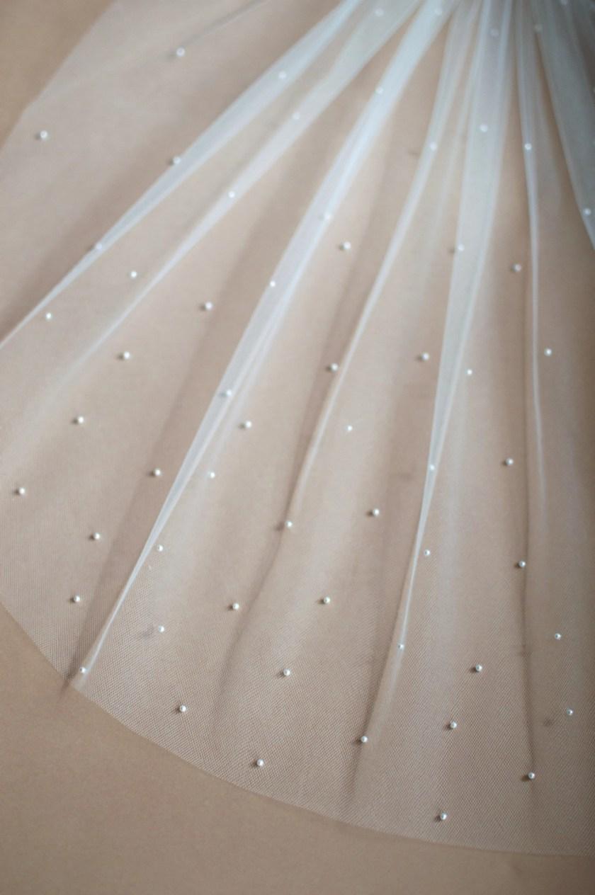 Chloe pearl beaded veil closeup