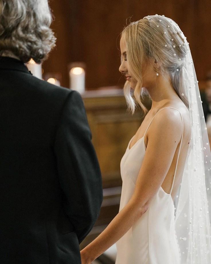 Custom chapel length Violet pearl veil on real bride Phoebe 1