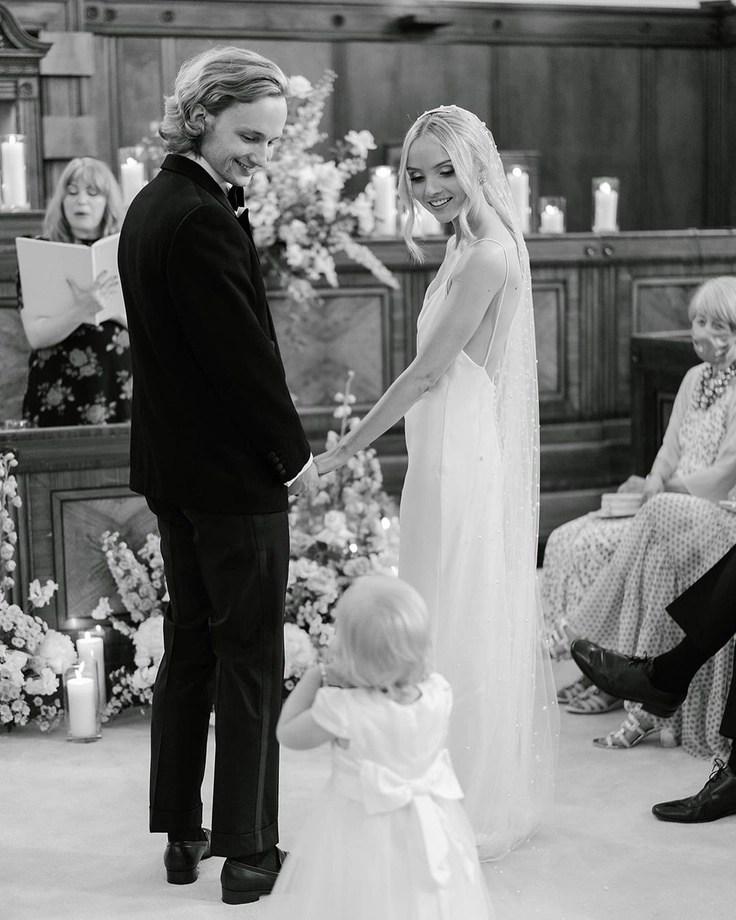 Custom chapel length Violet pearl veil on real bride Phoebe 6