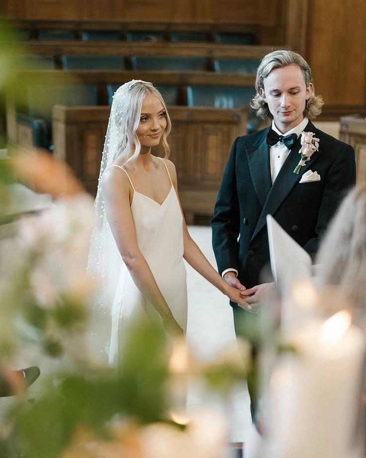 Custom chapel length Violet pearl veil on real bride Phoebe 9