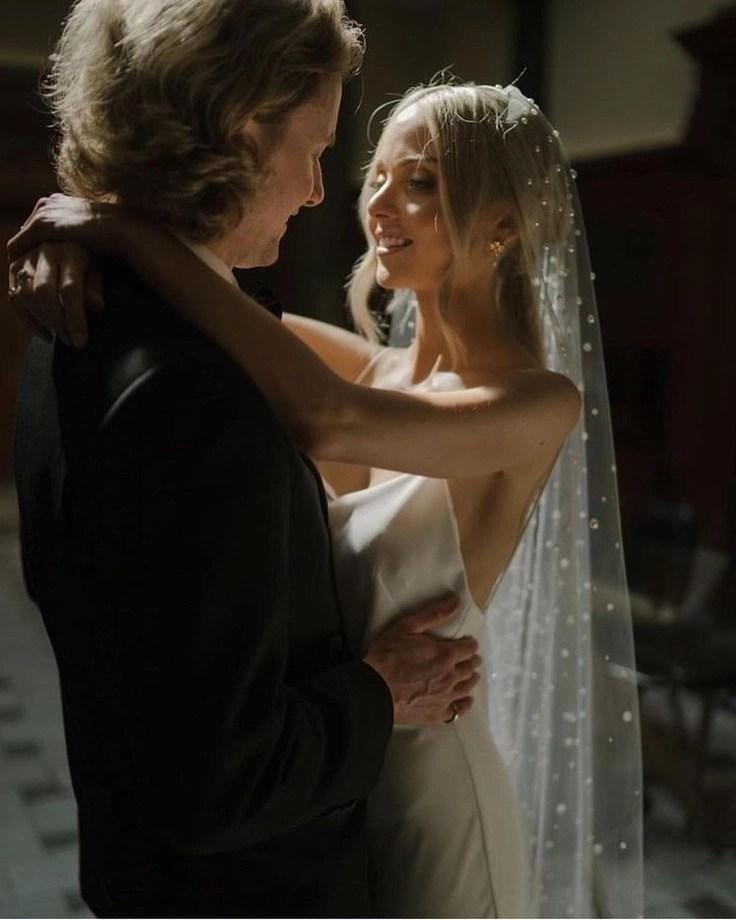Custom chapel length Violet pearl veil on real bride Phoebe