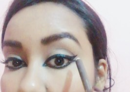 Line the crease with an brown eyeliner pencil