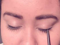 Line the upper lashine with pencil or gel eyeliner