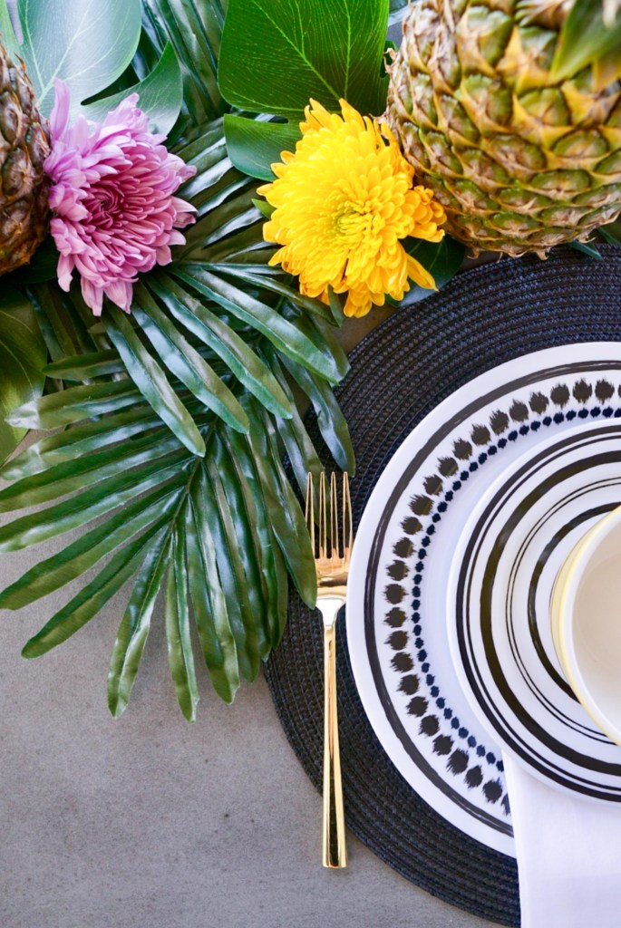Tropical table set up, outdoor dining set, modern and tropical