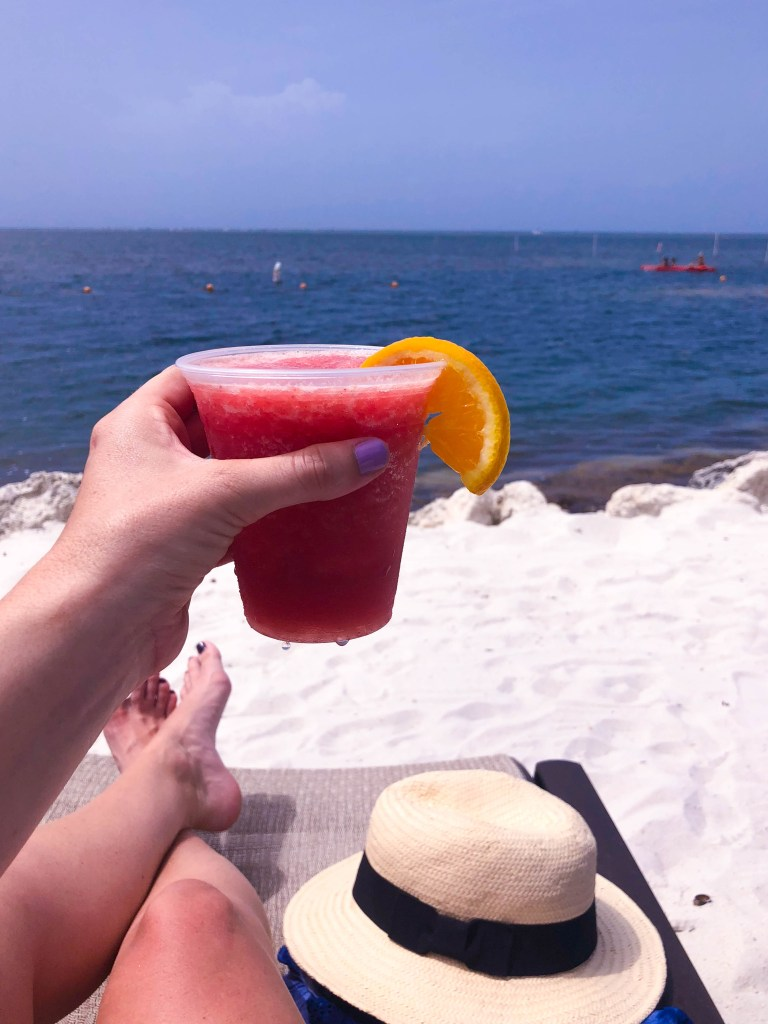 things to do in Islamorada, relax on the beach, strawberry daiquiri on the beach