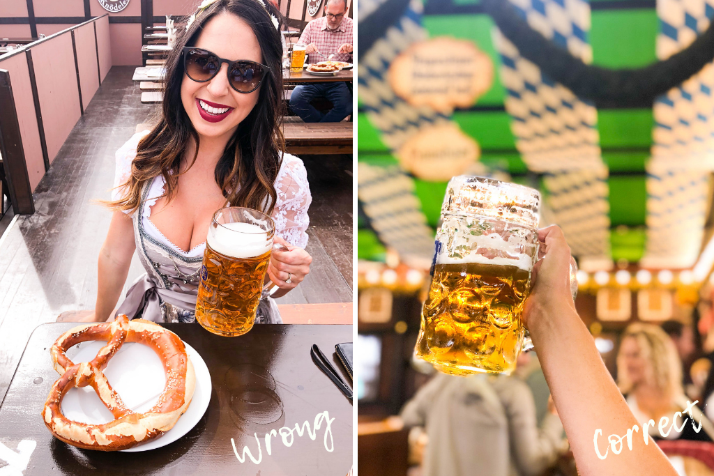 How to hold your beer at Oktoberfest, beer mug comparison, the wrong and correct way to hold a beer mug