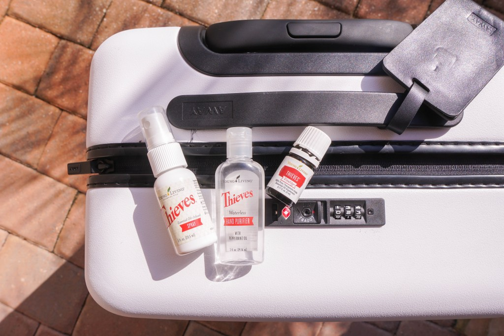 Essential oils for travel - Thieves Vitality, Thieves waterless purifier, Thieves spray, Young Living
