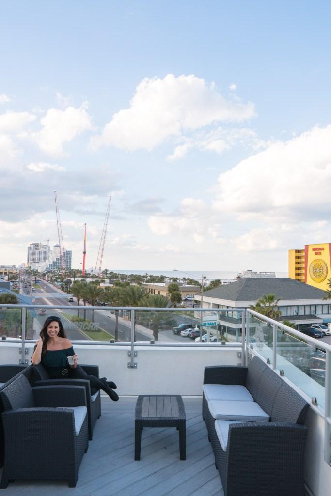 Rooftop bar at the Streamline Hotel in Daytona Beach, Florida