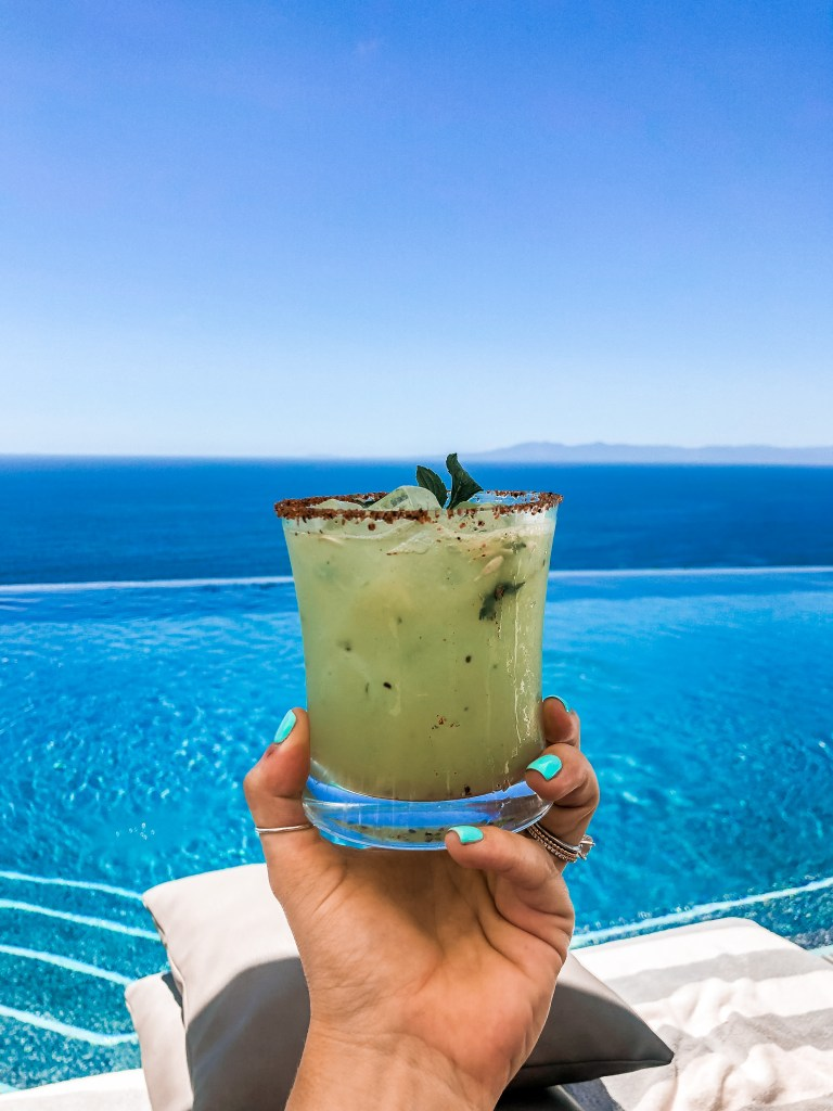 Margarita at a rooftop infinity pool