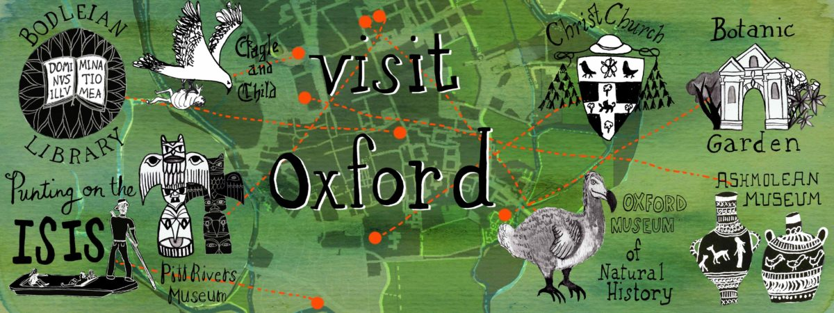 Oxford is an historic university town with beautiful sights to see. Here are eight things you should see and do if you are in Oxford for a few days. Weekend in Oxford - artwork by Shoshannah Hausmann