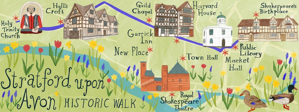 stratford map twg - illustrated map of Stratford Upon Avon by Shoshannah Hausmann - Stratford-Upon-Avon Walking Tour