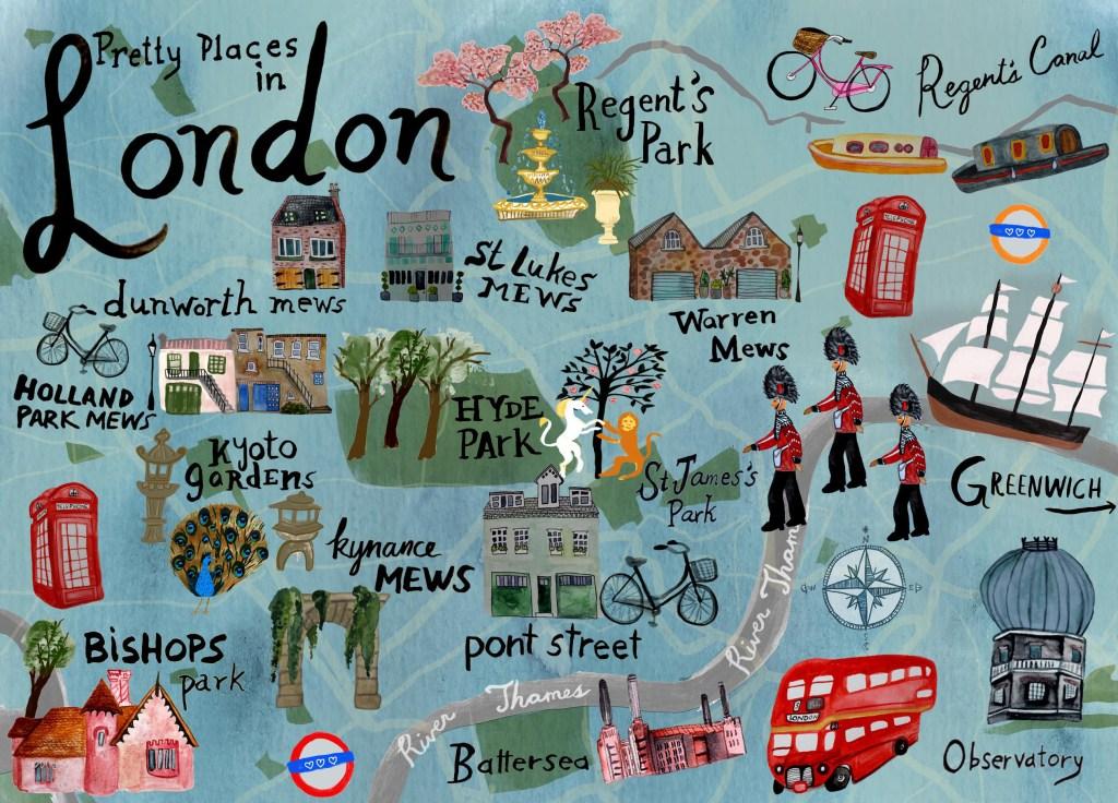 Pretty Places in London Map - Shoshannah Hausmann