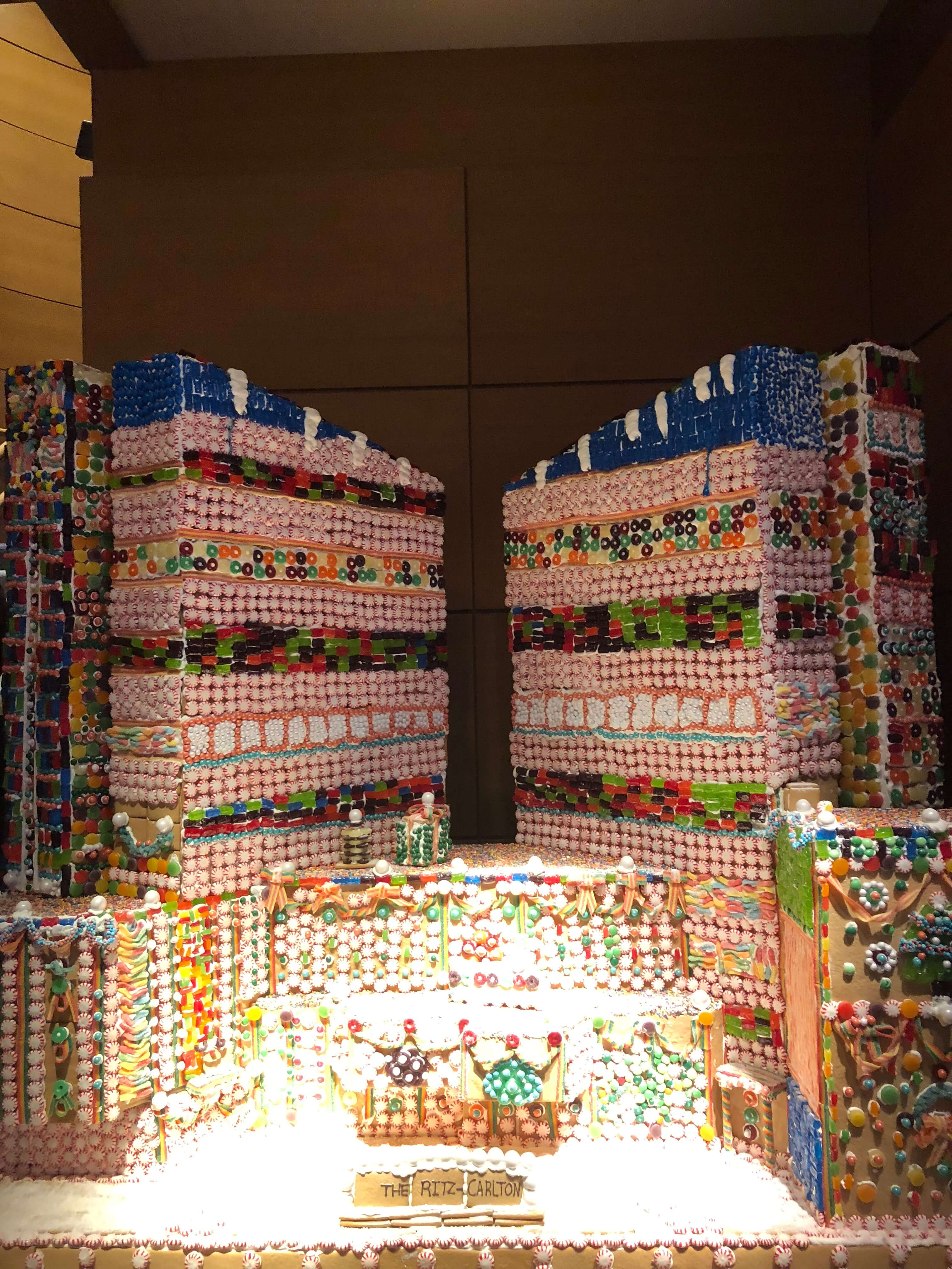 gingerbread house decorating giant tower at the ritz