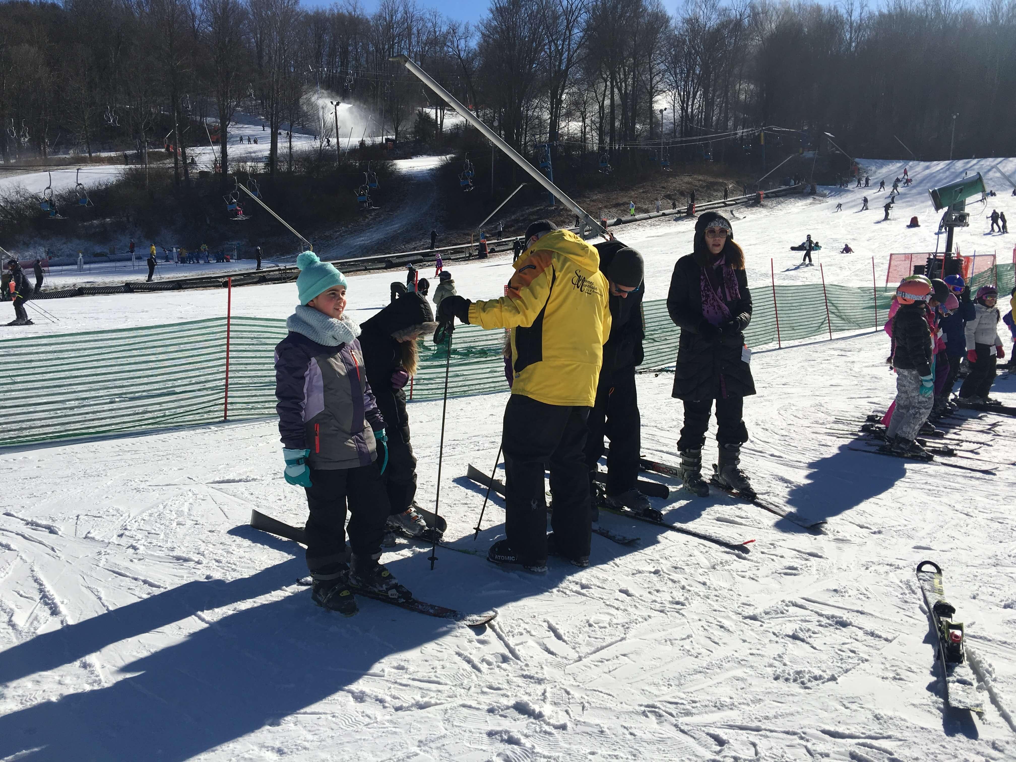First-Time Skiing at Shawnee Mountain Ski Area learning to ski