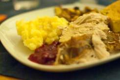 Turkey and the gang: mashed potatoes, apple-pear sauce, cornbread, gravy, stuffing : )