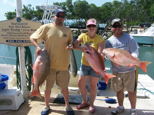 Returning customers, Todd and Annalee Burns and Allen Holmes, all from NM, had great success with the mutton snapper last week during an outing with SeaSquared. They got a 20-lbr, a 17-lbr and a 14-lbr