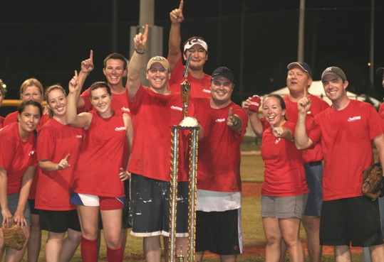 Despite expensive uniforms and a deep roster, the Marathon Jaycees captured the 2009 Softball Champion trophy through sheer grit and determination