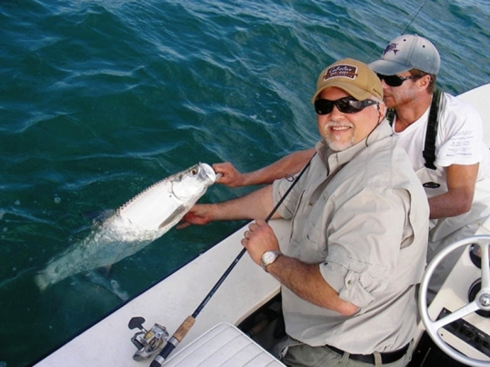Despite the cold front Captain Chris Morrison was able to locate this tarpon for Rico Ferrante of Danbury, Ct