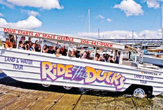 You splash down. You do your tour. This area is specific for this type of operation. Amphibians are like Labs (Labrador Retrievers) and that's the whole idea of this tour. John Murphy is the owner of Duck Sea Tours Seafari, Inc. He's been battling the city commission for years to begin operating in Key West. Previously, the city granted Ed Swift, CEO of Historic Tours of American a monopoly and the city was sued for millions.