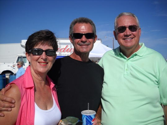 Cynthia and John Morrill chatted with Marathon City Manager Clyde Burnett