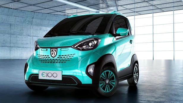 The new, E100, a tiny car sold in China in collaboration with GM.