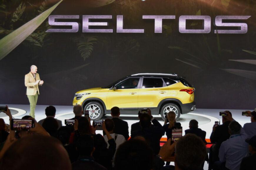 Michael Cole, Kia Motors of American, unveils the 2021 Kia Seltos and the LA Auto Show.