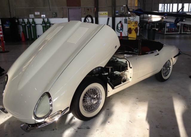 a 1961 Jaguar XKE presented a recent Jaguar even at Mather Aviation.