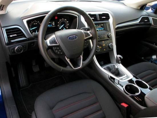 The 2013 Ford Fusion interior is futuristic-looking.