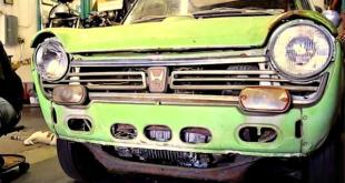 The first Honda N600 in its restoration process.