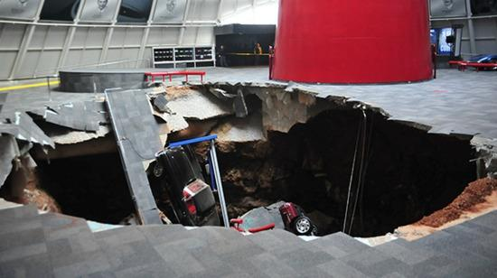 A sink hole in a car museum has eaten eight rare Corvettes
