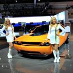 Twp products specialists showcasing the Dodge Challenger at the LA Auto Show.