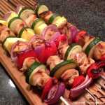 gluten-free teriyaki kabobs with pineapple, zucchini, red onion and red bell peppers