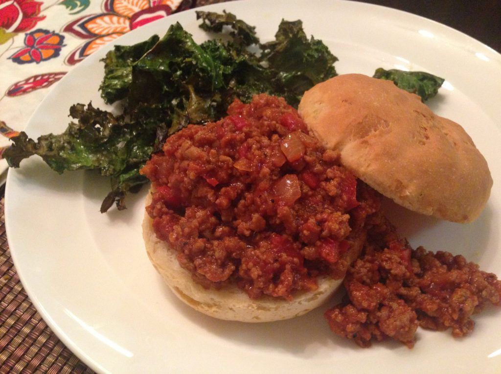 sloppy Joes on homemade hamburger buns with fried kale chips
