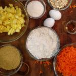 ingredients for making carrot cake muffins