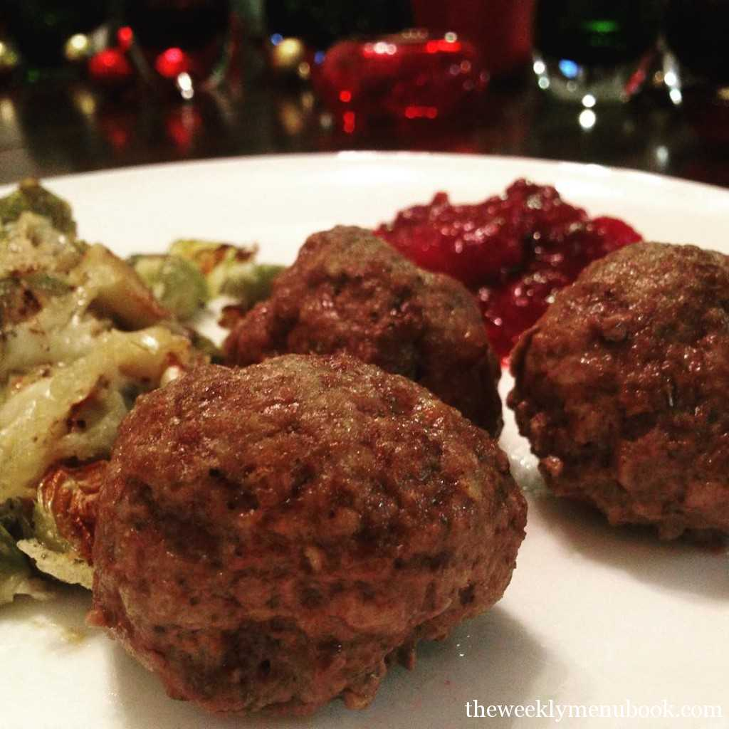 Bison Meatballs made with leftover stuffing