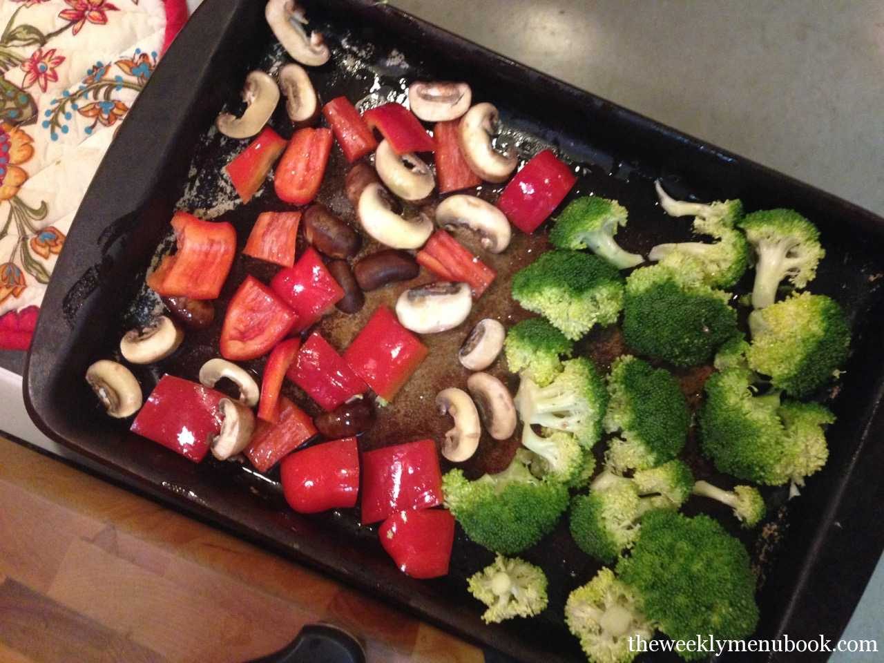 Roasted Red Pepper, Mushrooms and Broccoli