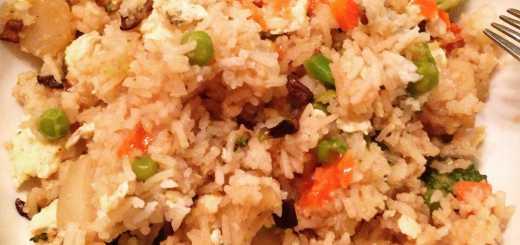 homemade Asian fried rice with peas, water chestnut, eggs, mushroom, broccoli