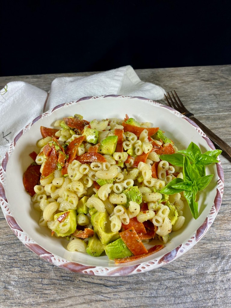 Summer Pasta Salad made with Italian dressing, pepperoni, avocados and gluten-free pasta