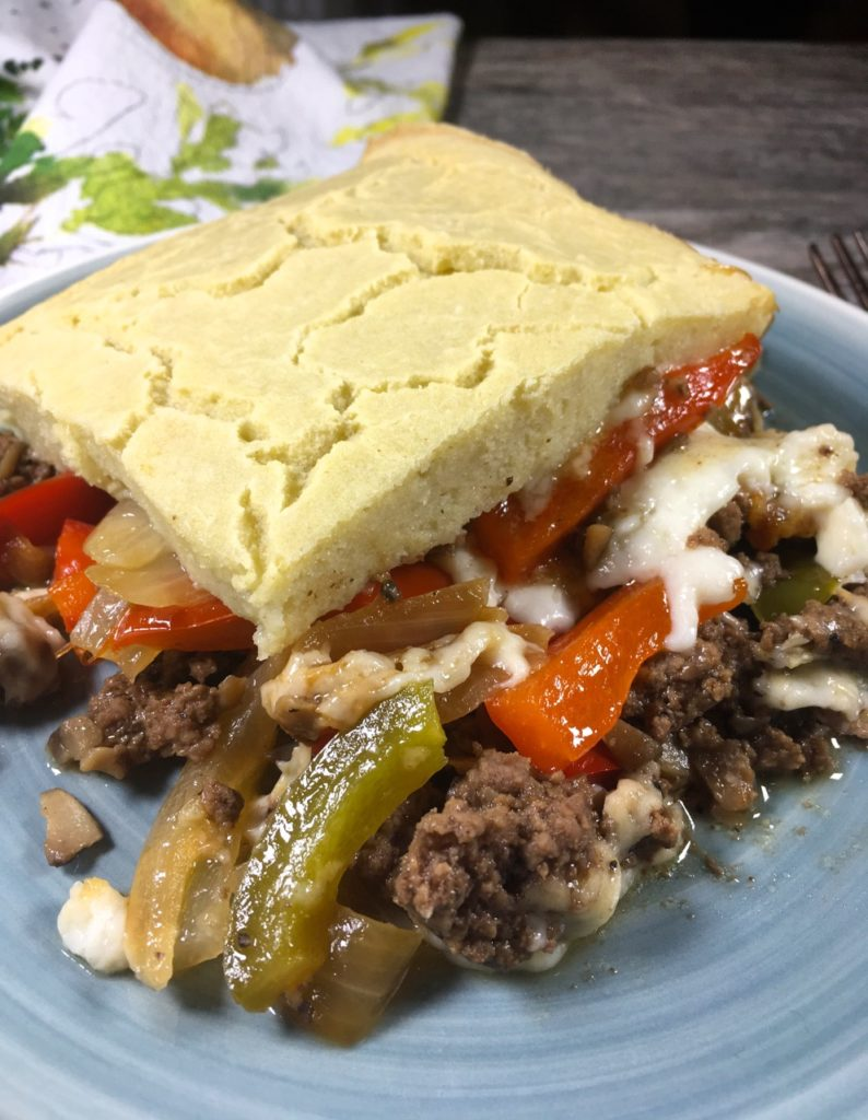 Gluten-Free Philly Cheesesteak Casserole using goat's milk Dutch sliced cheese from Trader Joes