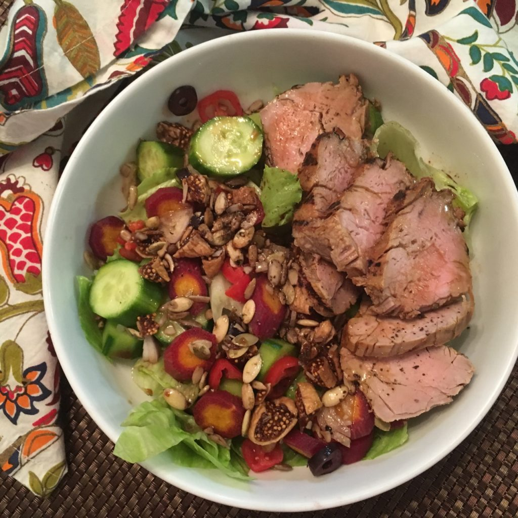 Leftover Pork Tenderloin Salad with Veggies, Nuts, Seeds, Figs and a Balsamic Vinaigrette