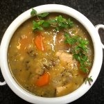 red lentil, wild rice, mushroom, carrot and chicken soup
