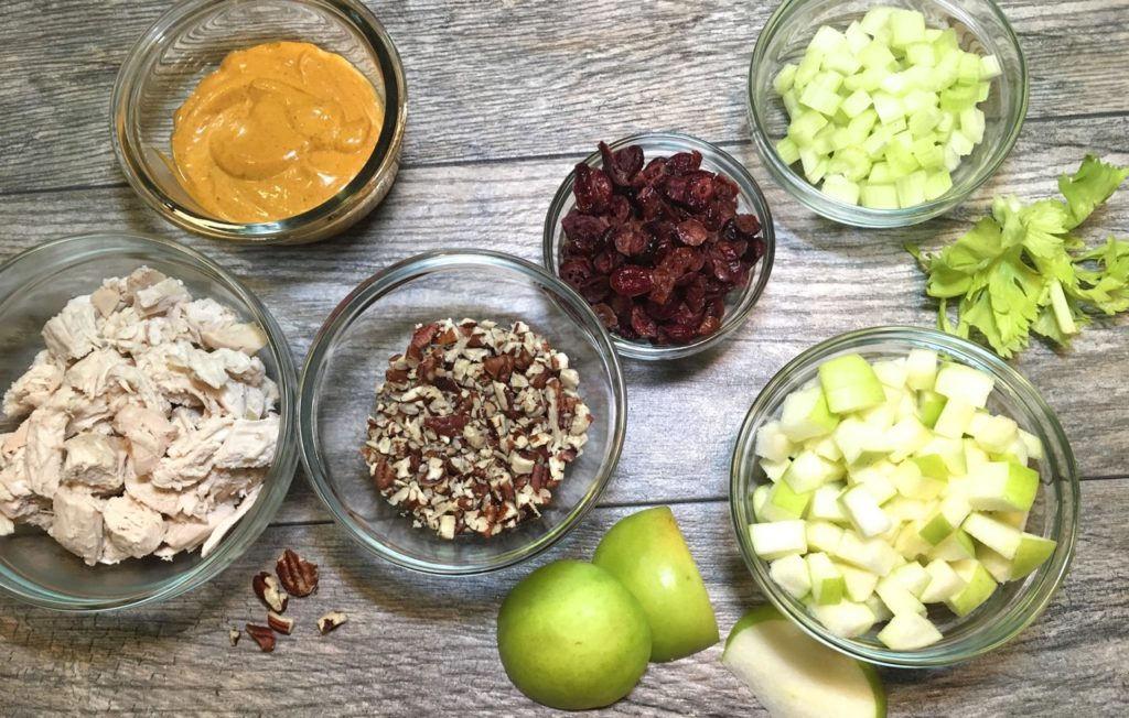Gluten-free, Dairy-Free Chipotle Curry Chicken Salad with Pecans, Apples, Cranberries and Celery