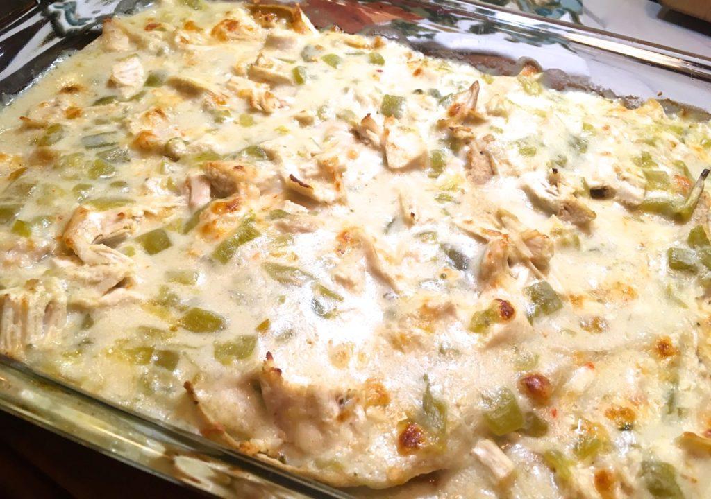 Gluten-Free White Chicken Enchilada Casserole
