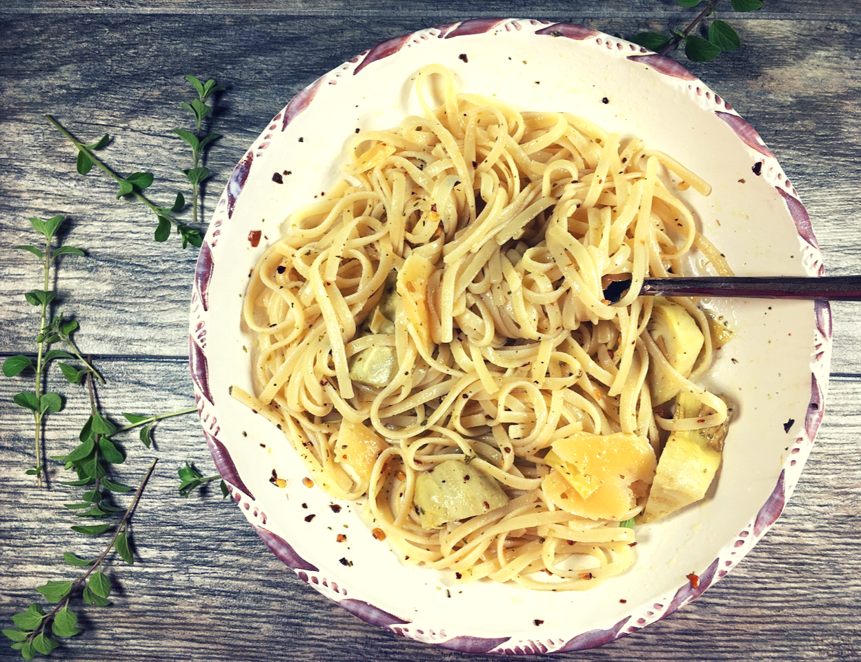 quick and easy recipe for gluten-free Meatless Monday linguine
