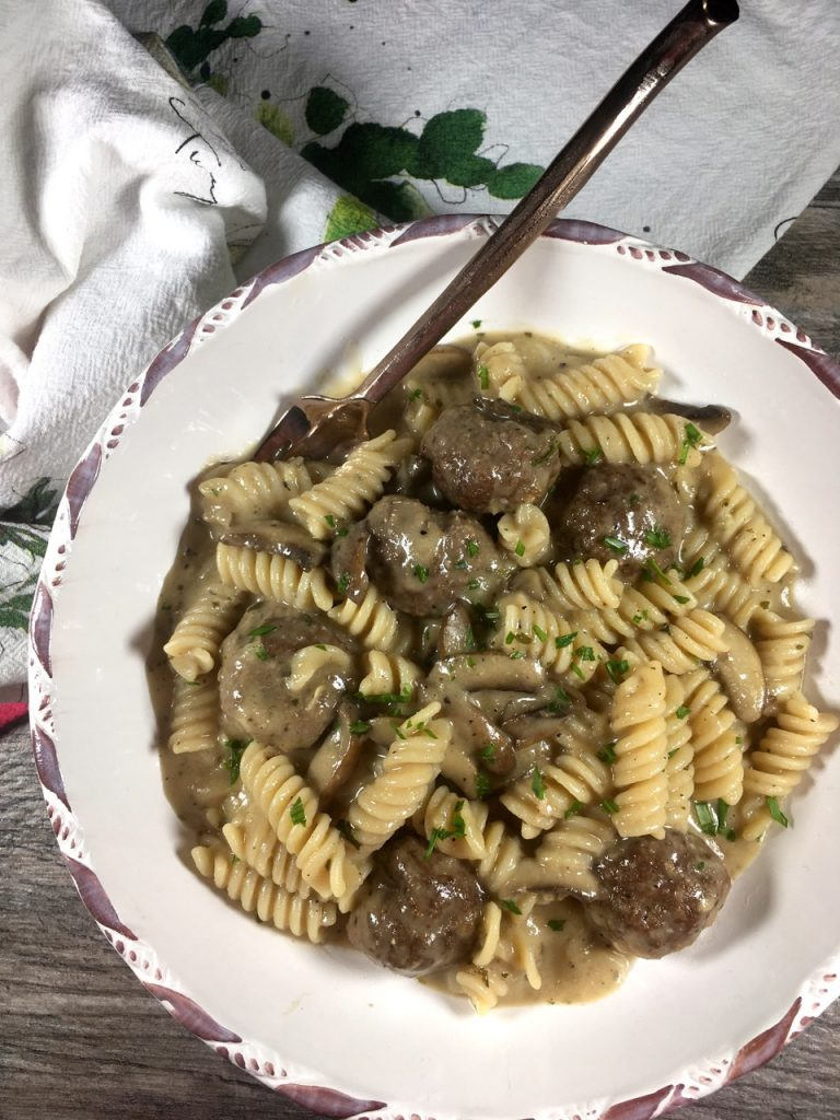 Strognaoff made with gluten-free fusilli pasta, bison meatballs, spice mixture, mushrooms and goat's milk skyr (Besos)  from Bee Tree Farm.