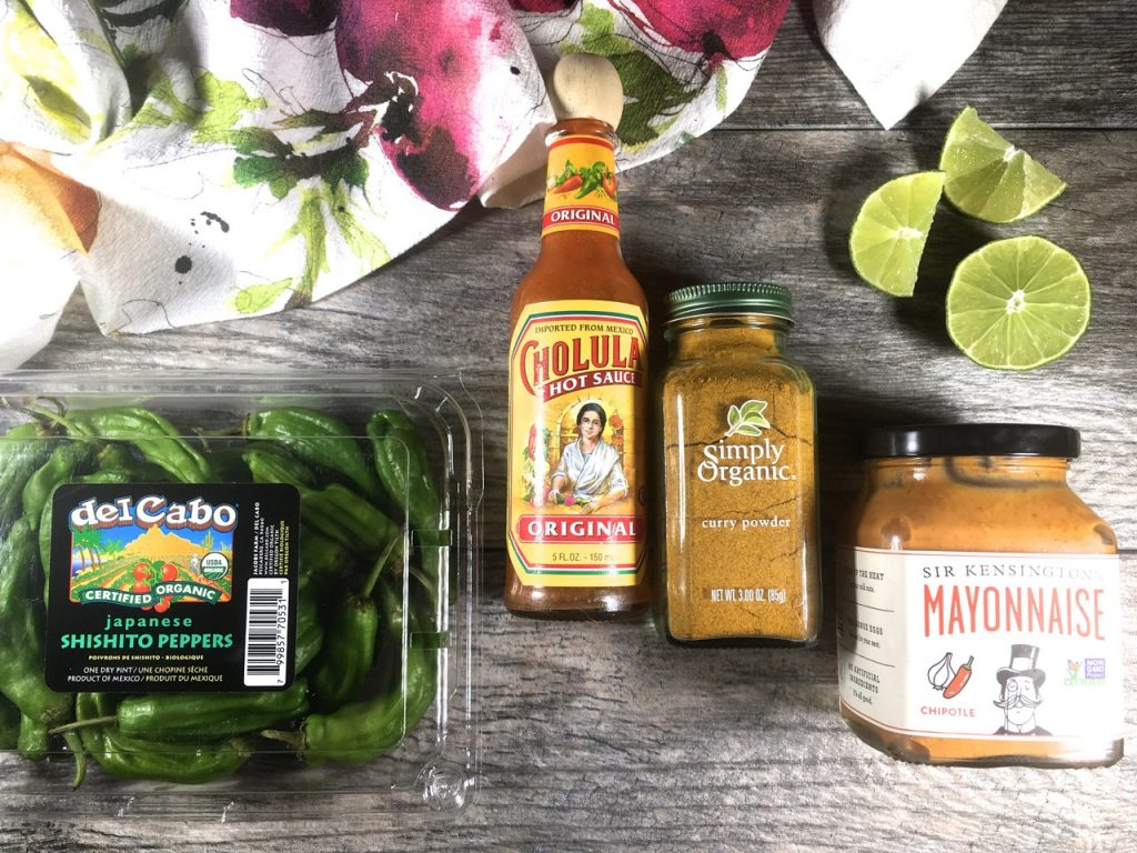 Shishito Peppers and Spiked Sir Kensington's Chipotle Mayo using Simply Organic curry powder and Cholula Hot Sauce | Gluten-free, Dairy-Free